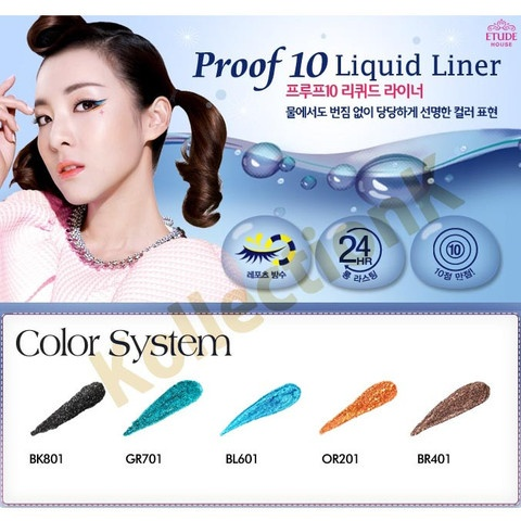 ETUDE, Proof 10 Liquid Eye Liner ウォータープルーフ10リキッド アイライナー by ETUDE HOUSE | KollectionK