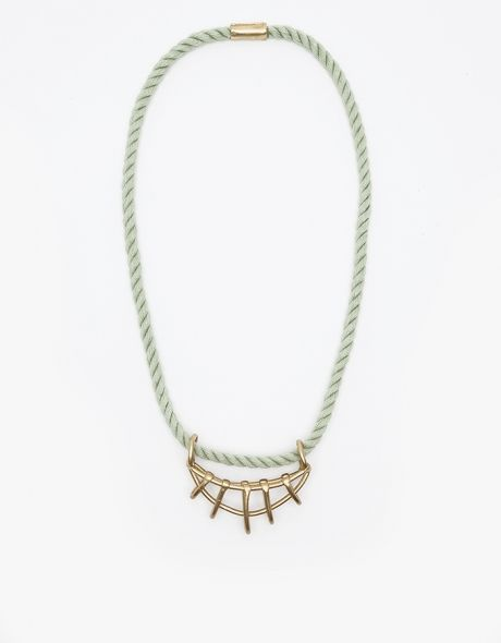 Cage Necklace 4 in Celadon