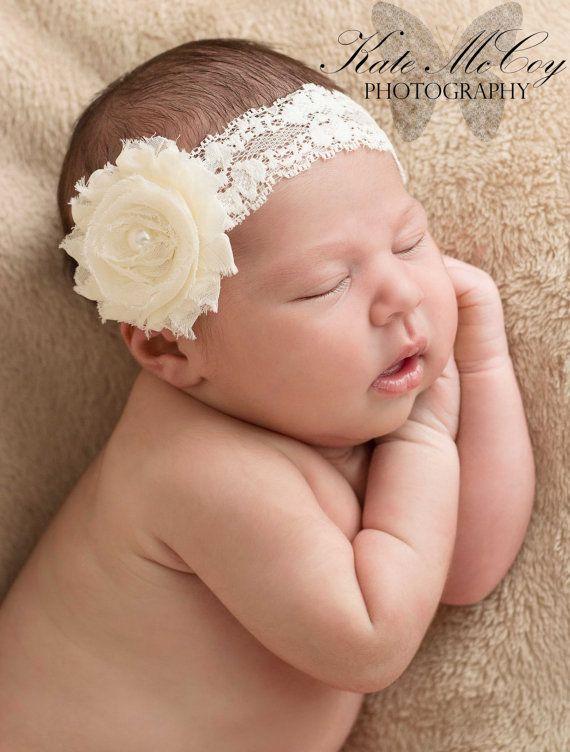 Bandeau bébé Ivoire, infantile serre-tête, bandeau bébé Ivoire fleur minable avec perle sur bandeau de dentelle élastique