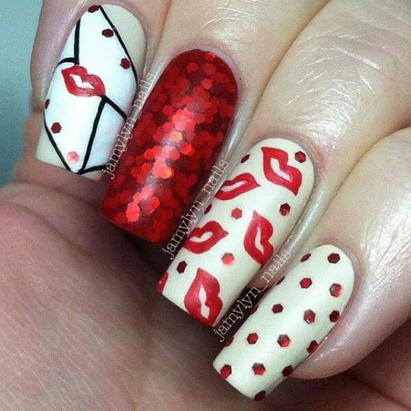 41 best valentines day acrylic nail art images on pinterest valentines day nail art ideas part ii love letter nails with red glitter kisses prinsesfo Choice Image