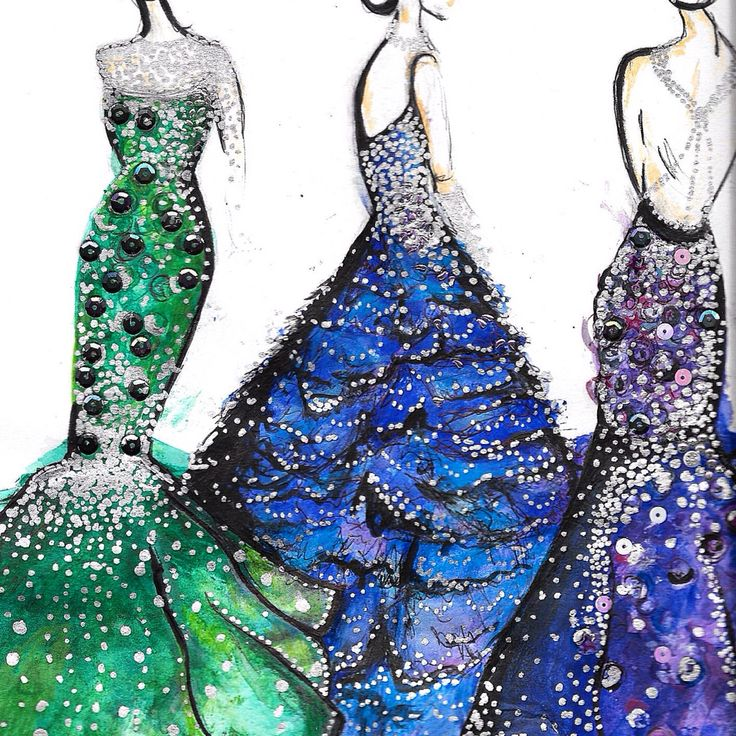 Details of my festive fashion illustration. Silver detailing, sequins, watercolour, fine liner. Three dress designs perfect for this party season. Have a lovely christmas and new year! ⭐️