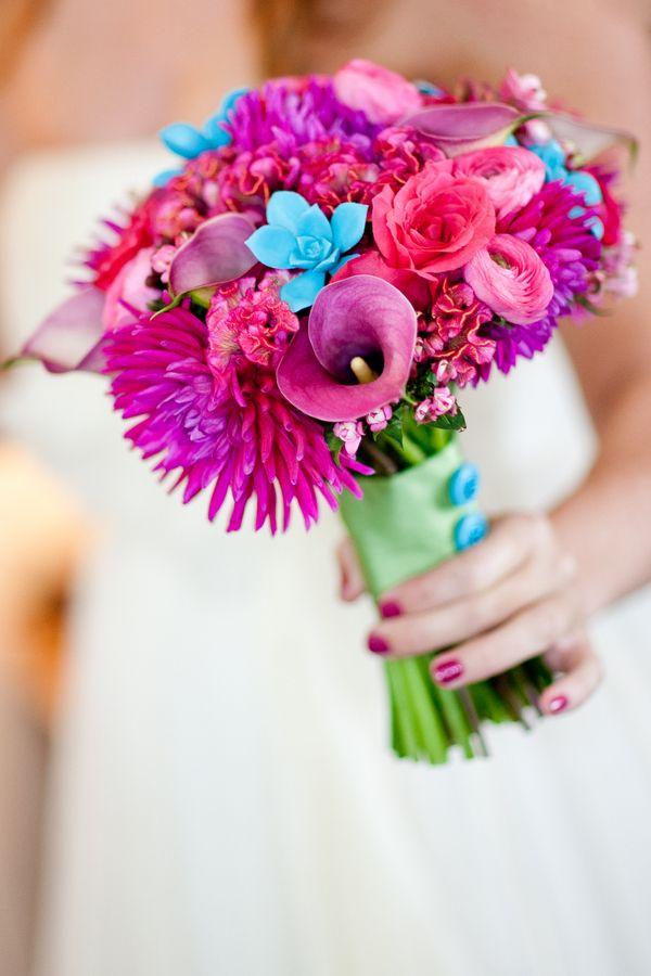 Super vibrant bouquet in fuschia, hot pink, purple & tiny pops of aqua blue!  #bouquet #purple #pink