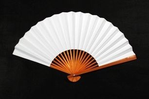 Plain white, 9-inch folded paper fan. Perfect for drawing or painting. RMB 3.50 each from 'Cloud Blossoming' in Shanghai, who promise delivery within 48 hours. This vendor sells lots of interesting stuff for parties, including plain paper fans for decoration, paper cups and plates, etc. Bulk buy to make the most of RMB 6 delivery fee. There are cheaper ones available; I just needed these in a hurry and was happy with the quality.