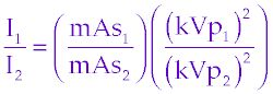 kvp and mas formula