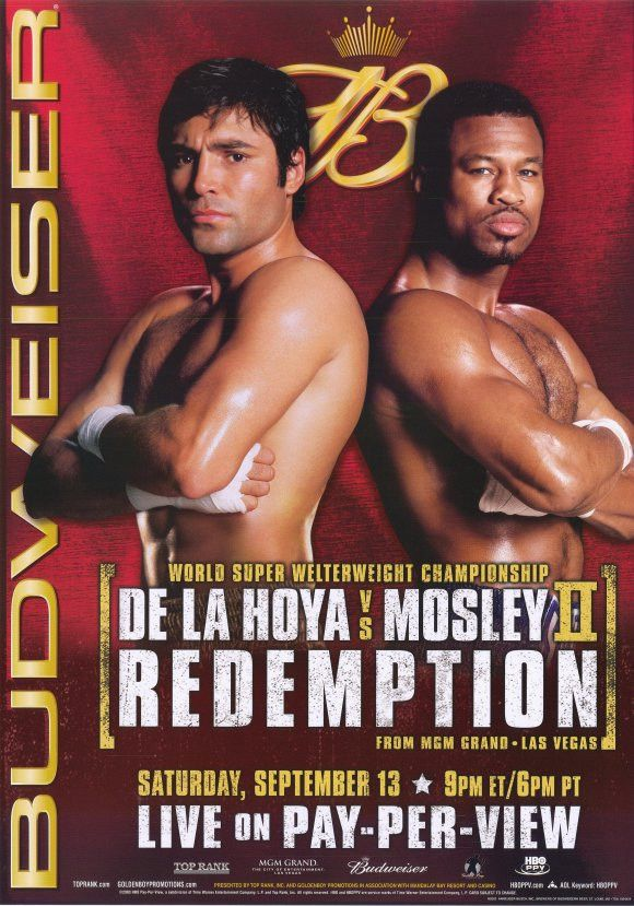 """CAST: Oscar De La Hoya, """"Sugar"""" Shane Mosley; Features: - 11"""" x 17"""" - Packaged with care - ships in sturdy reinforced packing material - Made in the USA SHIPS IN 1-3 DAYS"""