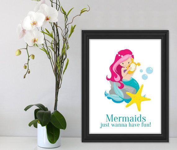 Printable Mermaid Wall Art Printable Wall Art Instant by Suselis
