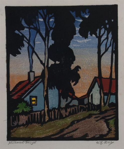 Millsmont, Twilight by William S. Rice (above Mills College, Oakland, California)