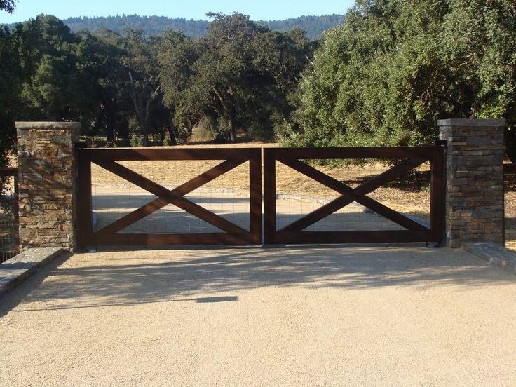 Wooden Swing Gates for Driveways | basket weave lower panel with compound curve top and hand forged sc ...
