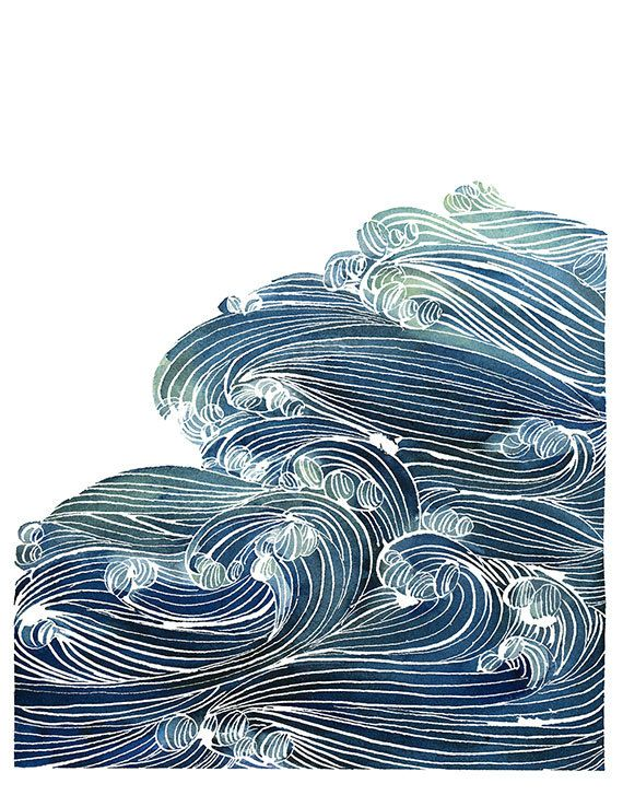 Handmade Watercolor Archival Art Print- Ocean Waves in Blue and Green Portland smuggled elbow patches
