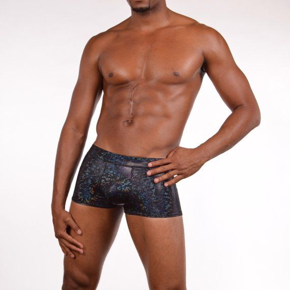 b16acd99fe Black Disco Holographic Sparkle Sexy Men s Pouch Booty Shorts    swim trunks  or Burning Man Festival