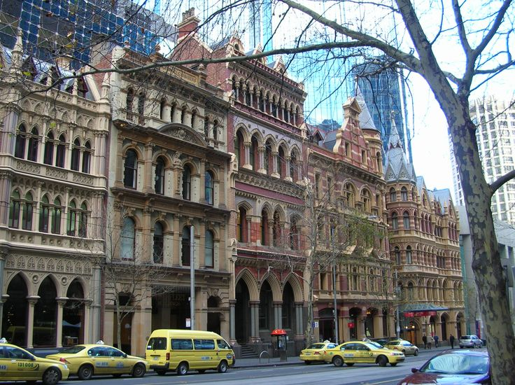 Modern skyscrapers on Collins Street, Melbourne have been deliberately set back from the street in order to retain Victorian era buildings.