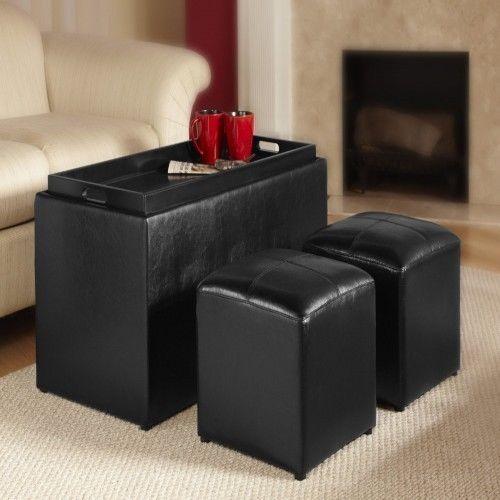 Set Storage Bench 2 Side Ottomans Convenience Coffee Table Comfort Sheridan Tea #ConvenienceConcepts