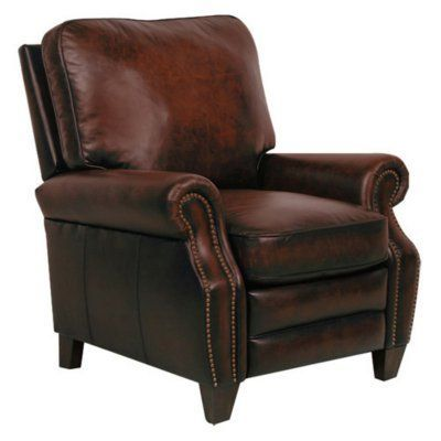 Barcalounger Briarwood II Leather Recliner with Nailheads Stetson Coffee - 74490540741, Durable
