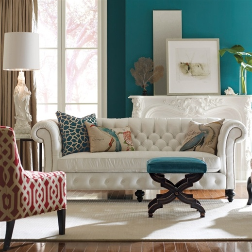 teal cross bench and wall color, red accent chair: Wall Colors, Living Rooms, Teal Wall, White Sofas, Blue Wall, Interiors Design, Colors Schemes, Teal Accent, White Couch