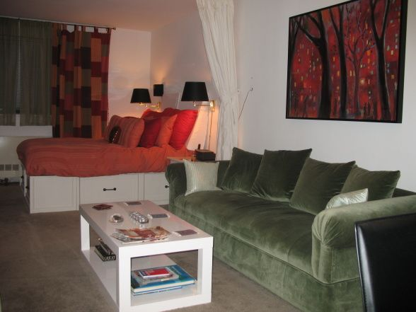 decorate an efficiency apartment | APARTMENT, Living room and bedroom area in a NYC studio apartment ...