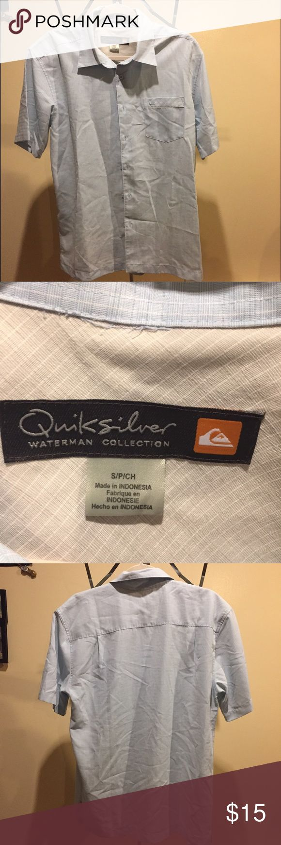 Quiksilver soft baby blue button down shirt Quiksilver soft baby blue button down shirt. Soft silky feel looks nice. Worn once out to dinner. Great Condition Quiksilver Shirts Casual Button Down Shirts