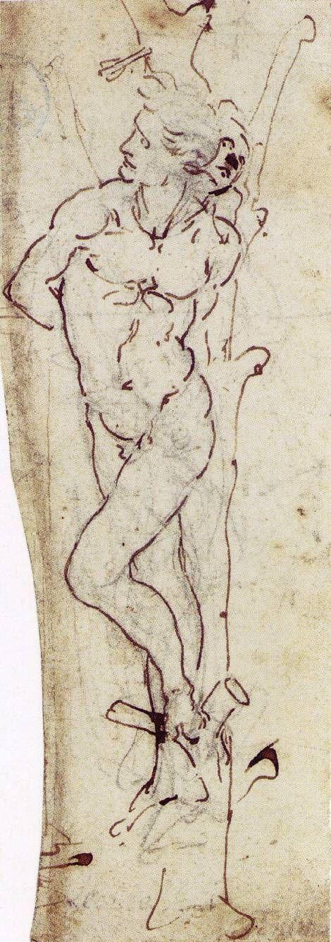 Leonardo da Vinci, Nel verso San Sebastiano (1480), disegno, cm 18x6, Hamburg, Germania, Kunsthalle.
