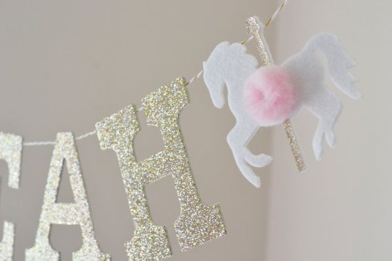 Carousel Horse Pony Glitter Banner / Custom by StringDearieStudio