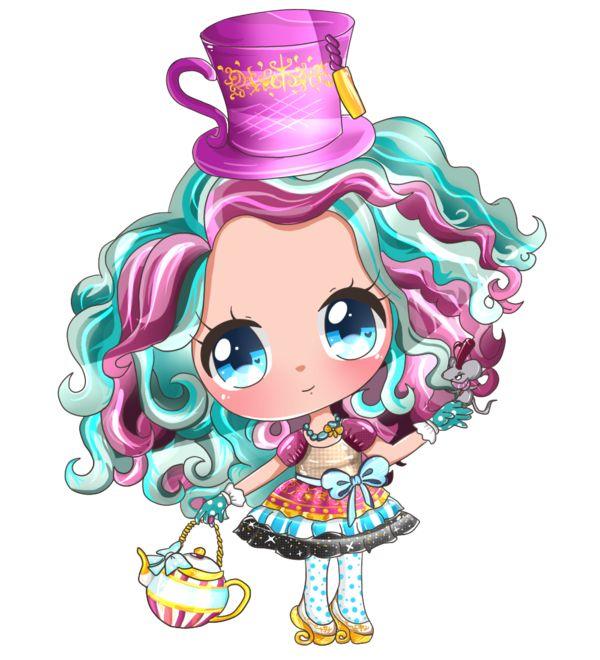 chibi mad hatter | Dibujo para colorear a Madeline Hatter de Ever After High                                                                                                                                                                                 Más
