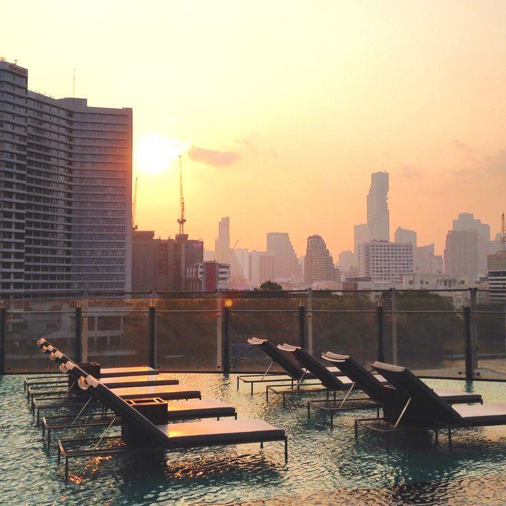 Pool area at the Millennium Hilton Bangkok Hotel, Thailand