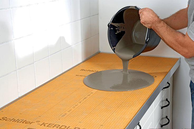 Piano cucina in cemento con Schlüter®-KERDI-BOARD   Schlüter-Systems