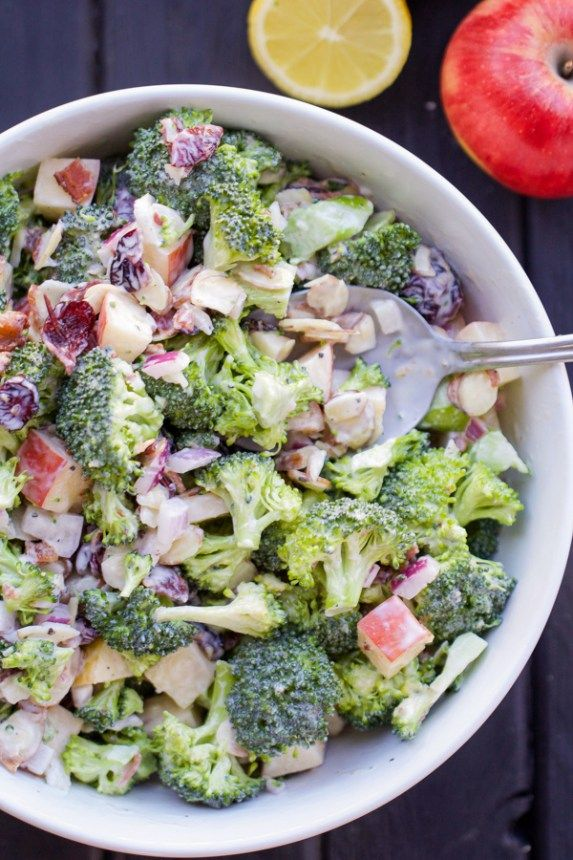 Broccoli, almonds, cranberries, bacon, and apples come together for this perfect side dish. This will be a huge hit at your next potluck