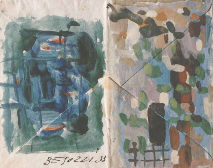 E. Besozzi pitt. 1953 Composizione tempera su carta da lettera cm 12,2x15,2 arc. 573