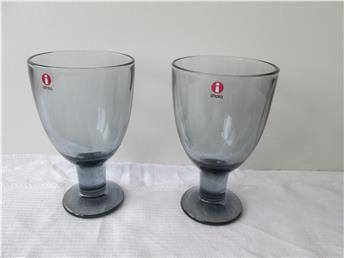 2 st Blå gråa  Verna littala glas.Formgivare Kerttu Nurminen