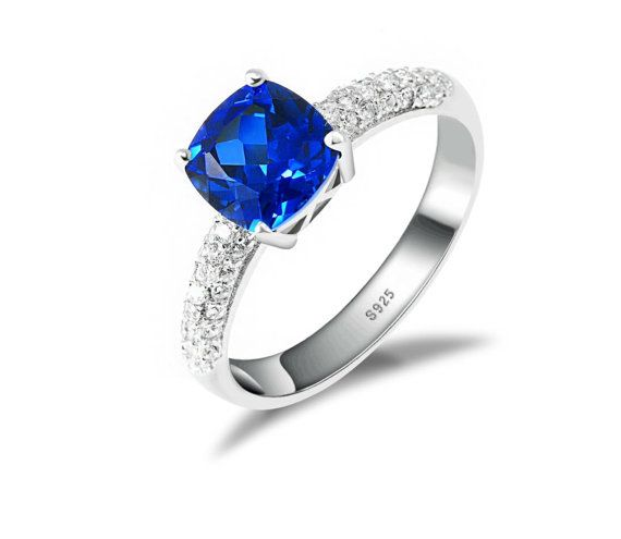 Sterling Silver 2.78ct Lab created Blue by LenaMayJewelley on Etsy