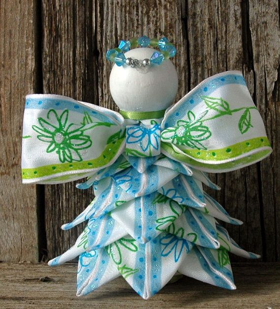 Angel Quilted Ornament Spring Blue and Green by MyPrairieCreations