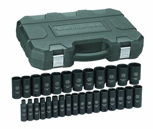 GearWrench 84935 1/2-Inch Drive Impact Socket Set Deep Metric, 29-Piece