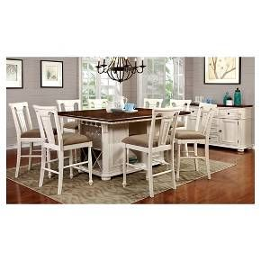 9-Piece Country Storage Counter Height Table Set - Cherry and White : Target
