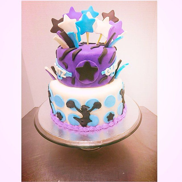 Cheerleading Cake! #cheer #cake #cheerleading #cakecakecake #cakeoncake #cakesofinstagram #cakeoftheday #bakery #baker #baking #yummy #delicious #feedme #foodie #sweets #treats #yummy #stars #zebra #pompom #sweettooth #customcake #cakedecorating #haileyssweetsandtreats #purple #glitz