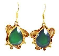 Green onyx Copper gorgeous jewellery Earring Green L-1.5in UK gift