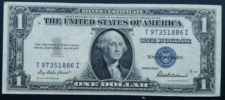1935-F $1.00 Silver Certificate Blue Seal Note One Dollar Bill LOOK! - http://coins.goshoppins.com/us-paper-money/1935-f-1-00-silver-certificate-blue-seal-note-one-dollar-bill-look/