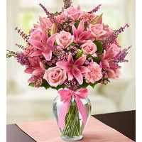 Say Hy Birthday With Pink Flowers At Sendflowersandmore