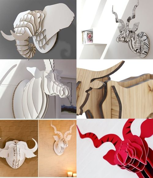 Big 5 Animal Trophies - fold-able   Cardboard or Bamboo - Kudu- Elephant - Antelope