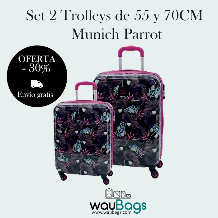 Consigue en waubags.com el Set de viaje compuesto por 2 originales y prácticas Maletas Trolley (una de ellas apta para cabina) Munich Parrot, ahora con un 30% de descuento y gastos de envío gratis!!!!  @waubags #munich #maletas #setmaletas #trolley #viaje #oferta #descuento