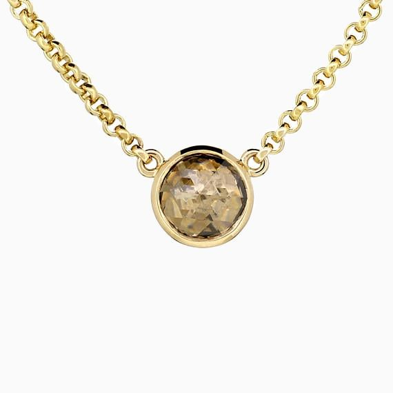 Rose Cut Champagne Diamond necklace in Yellow Gold