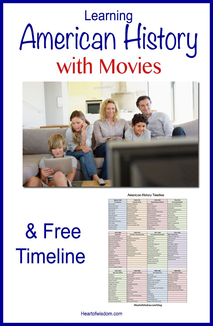 Learning American History Through Movies & Free Timeline #HeartofWisdom This includes links to history sites.