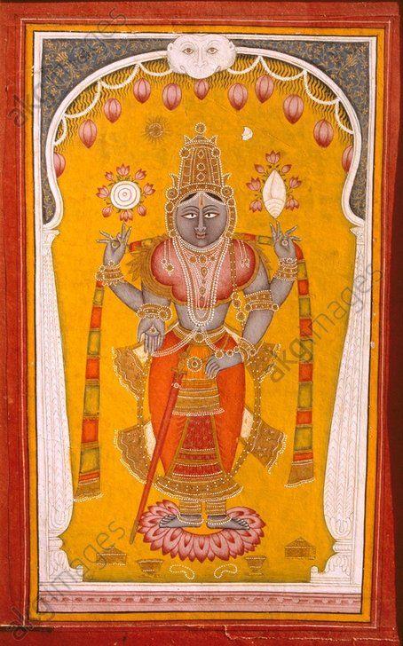 Vishnu 18th century. Rajput painting. Jaipur, India