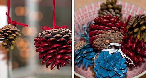 Beeswax dipped pinecones. Colourful all-natural christmas ornaments.