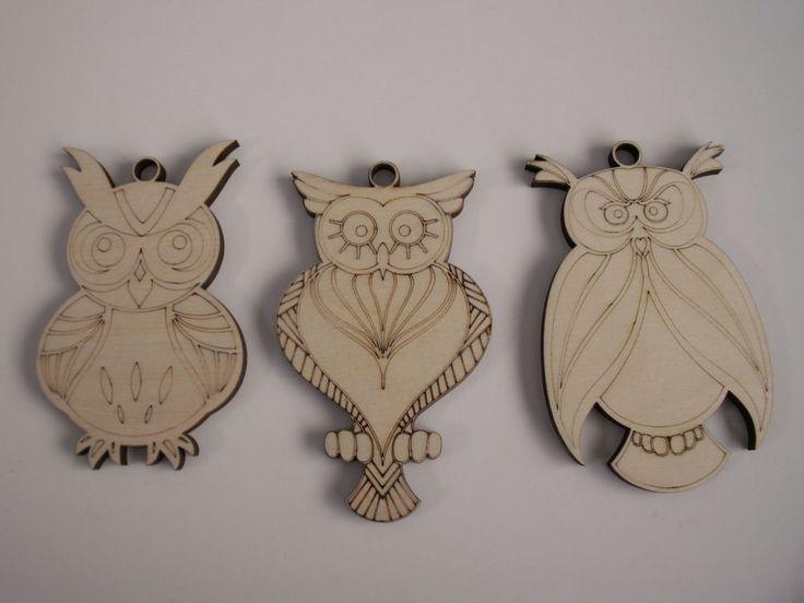 Owl Ornaments, 3 PIECES, Laser Cut, Unfinished Wood, Ready to Paint, Christmas #Unbranded
