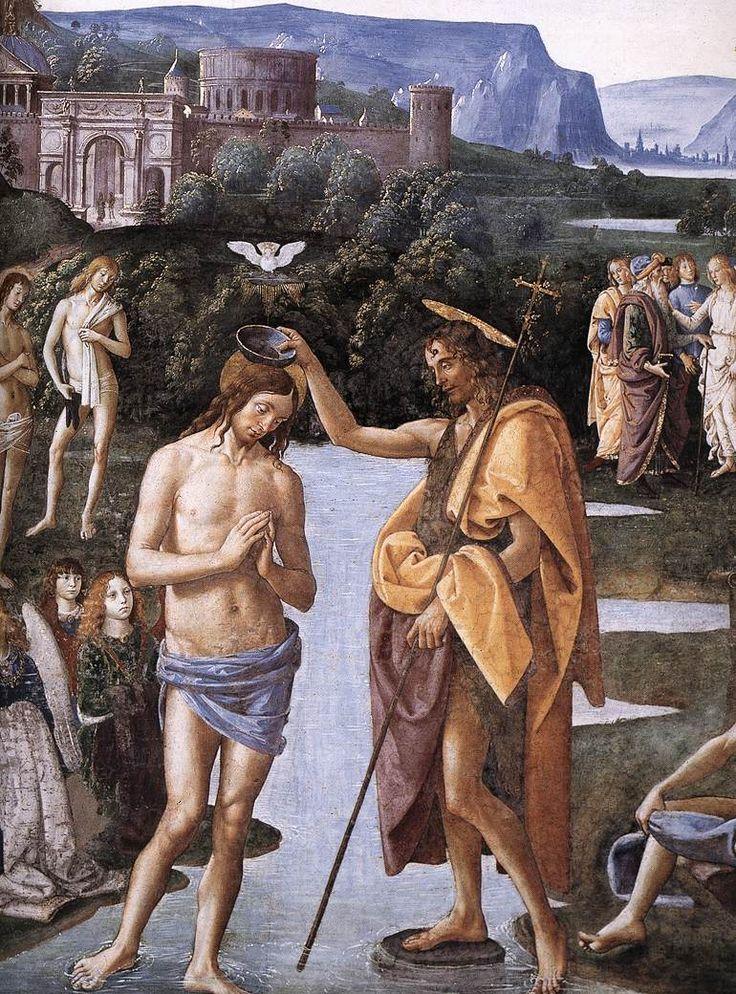 IL PERUGINO - Battesimo di Cristo, dettaglio - circa 1481-1483 - affresco - Cappella Sistina, Città del Vaticano