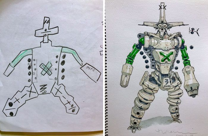 K-3 (Keisan) Dad turns son's drawings into anime characters!