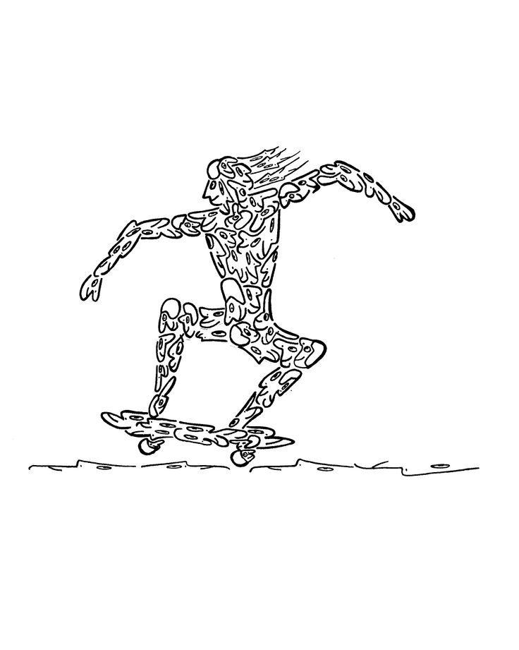 """SKATEBOARDER, MADE OF LITTLE SKATEBOARDER HEADS"" - Created by illustrator, 'NICHOLAS', for a series of hundreds of humorous, original images, drawn with little faces and objects. These drawings can be placed on any variety of objects - from posters, greeting cards, postage stamps, to t-shirts, children's wallpaper, coffee and beer mugs, and pillows. These illustrations are available on many objects sold by 'Zazzle', by going to 'Minifaces by Nicholas'."
