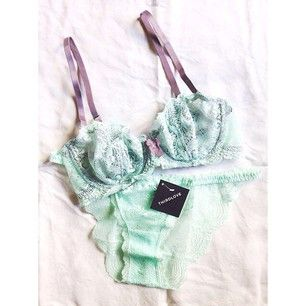 ThirdLove's Lace Balconet 2.0 and Lace Bikini in mint with gorgeous lilac details. Shop this set! Bra: https://thirdlove.com/product/aqua-mint-lace-balconet-2.0-bra-with-stormy-lilac-strap-and-bow/197 Panty: https://thirdlove.com/product/aqua-mint-lace-bikini-panties/205