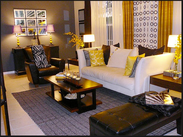 Yellow gray brown living room family room pinterest - Black brown and white living room ...