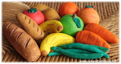 DIY Fruits, légumes and Co dînette de pâte à sel - Cubes & Petits pois