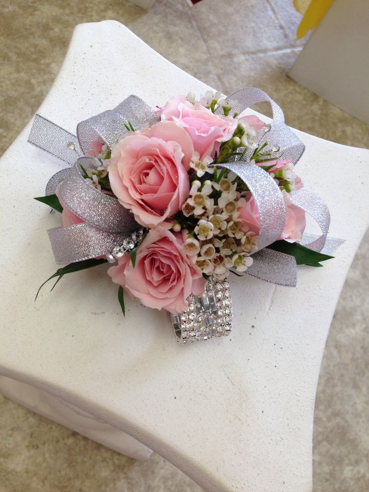 Rhinestone bracelet with silver ribbons and pink spray roses